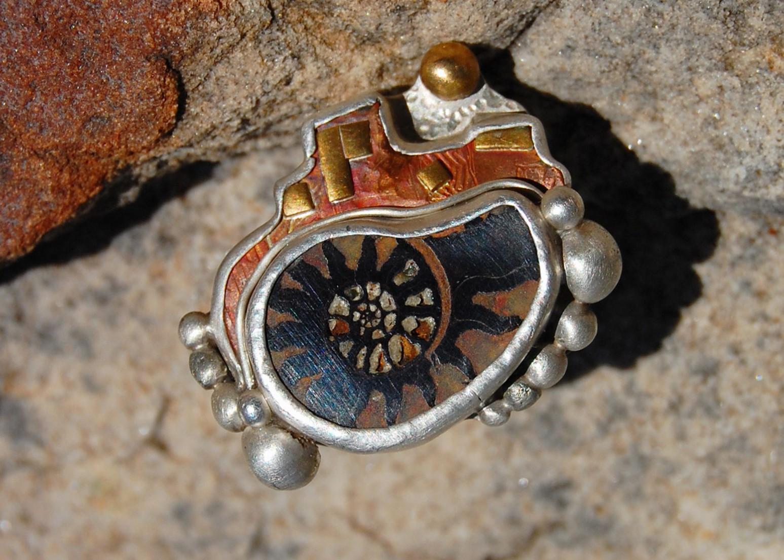 Ammonite Cityscape ring- sterling silver, copper, fossil, SOLD